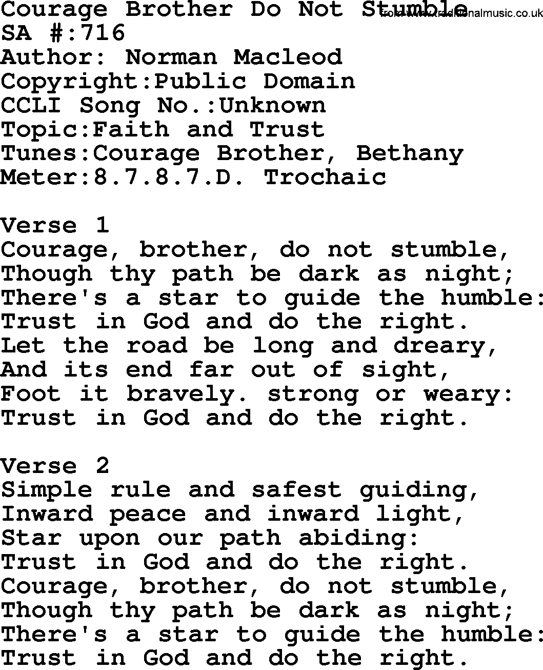 Hymns about courage