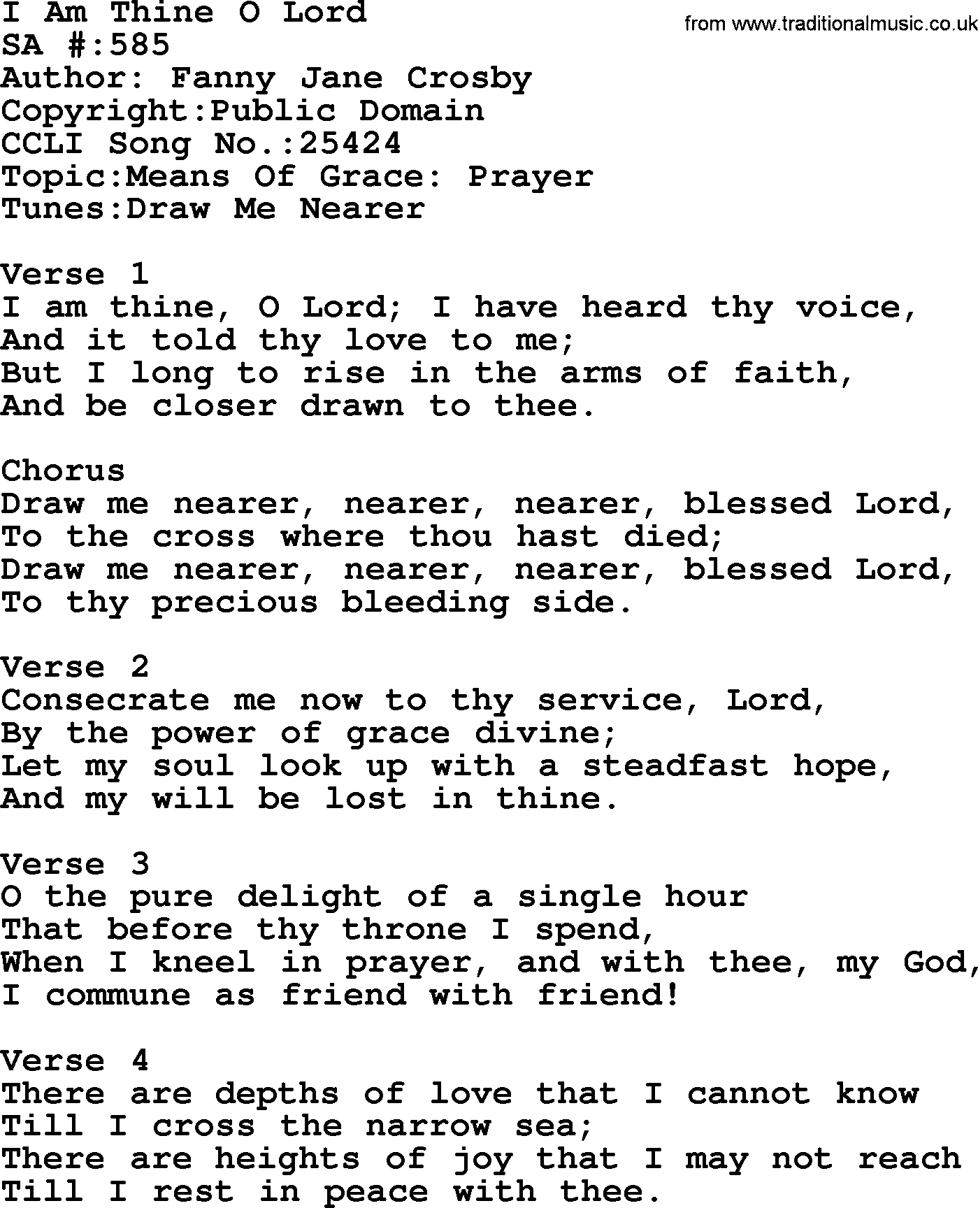 Salvation Army Hymnal Song: I Am Thine O Lord, with Lyrics and PDF