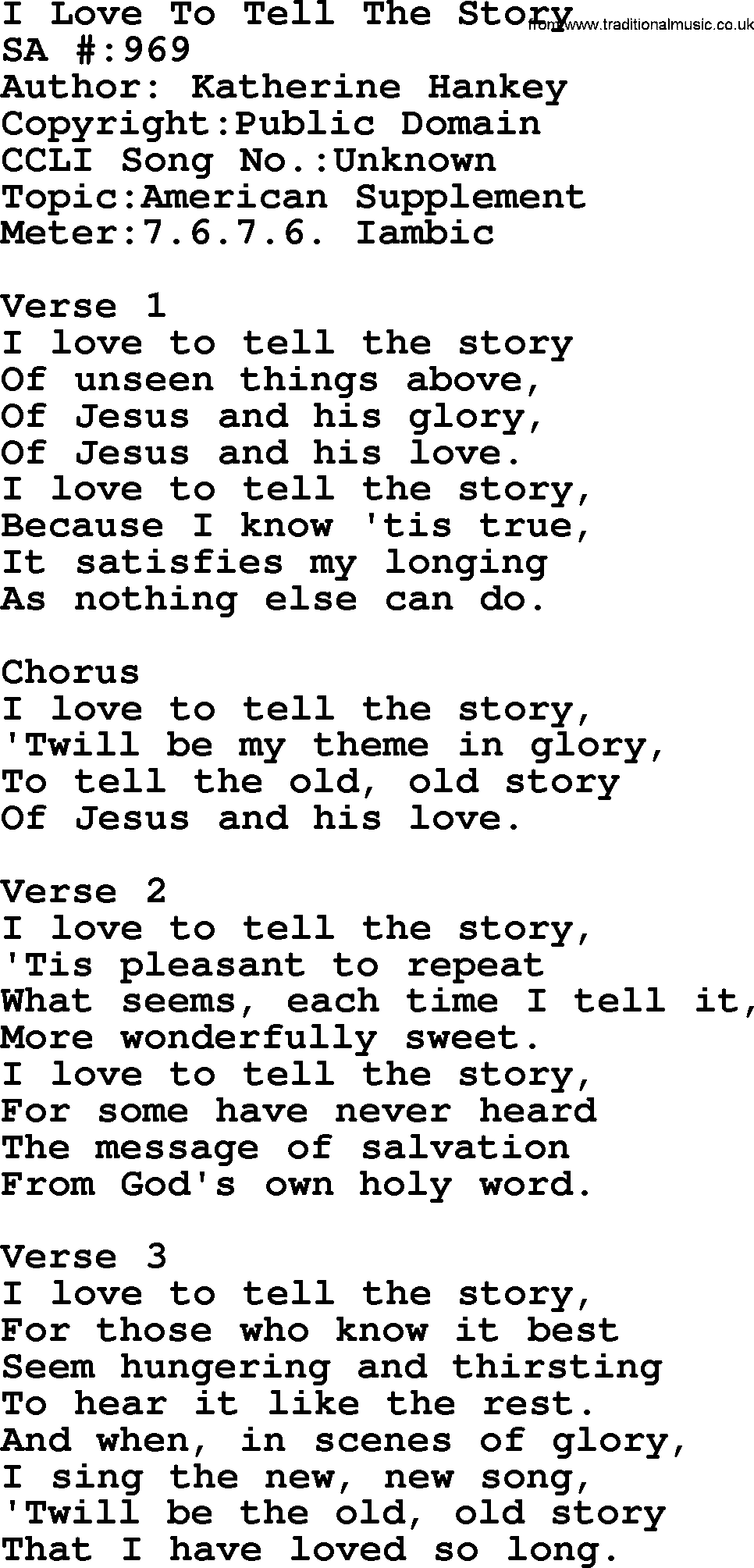 Lyrics i love to tell the story