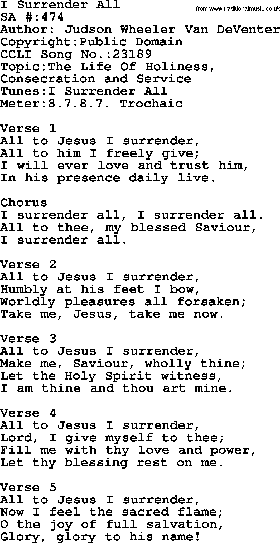 I SURRENDER ALL CHORDS (ver 10) by Misc Praise Songs