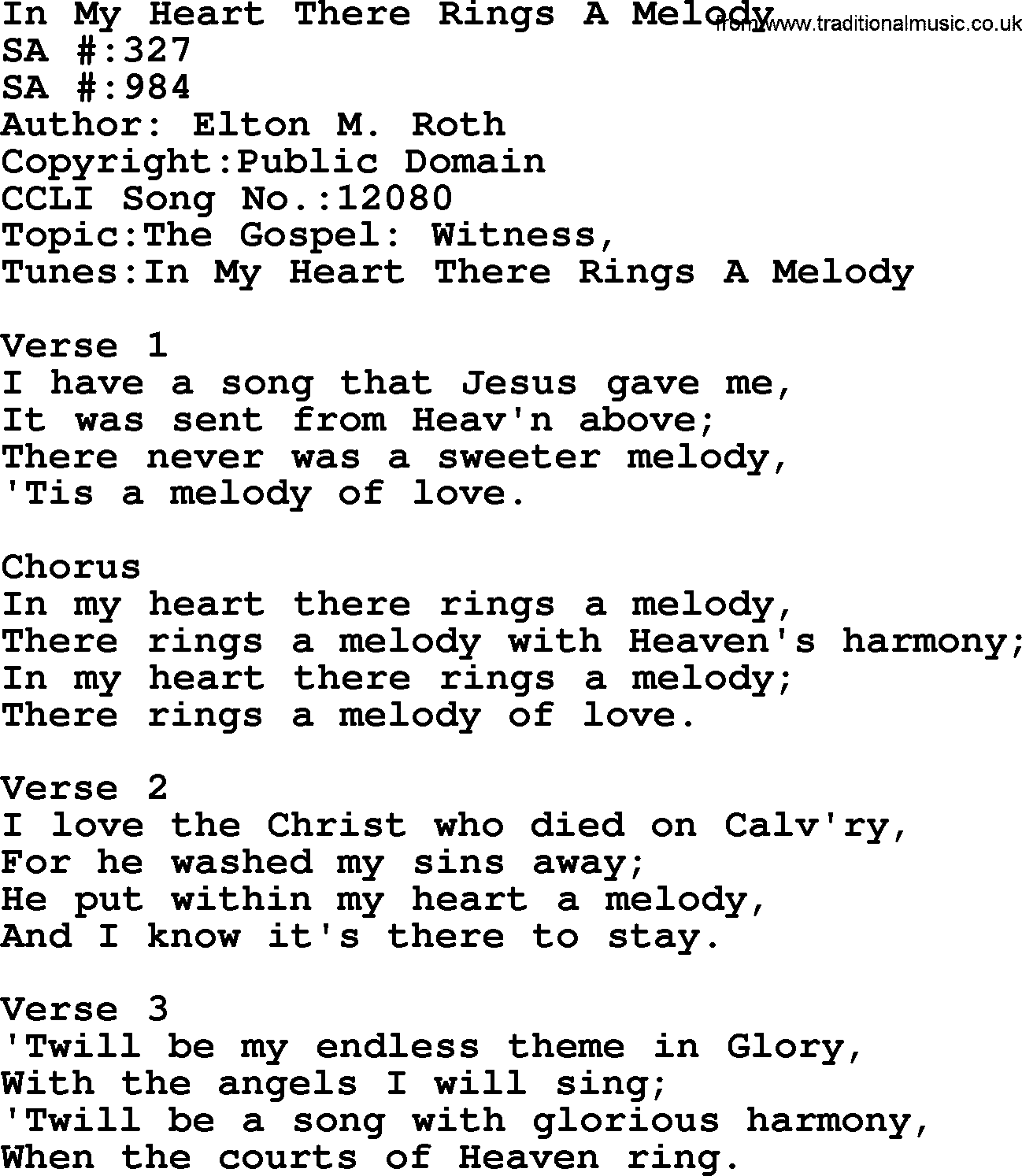 Salvation Army Hymnal Song: In My Heart There Rings A Melody