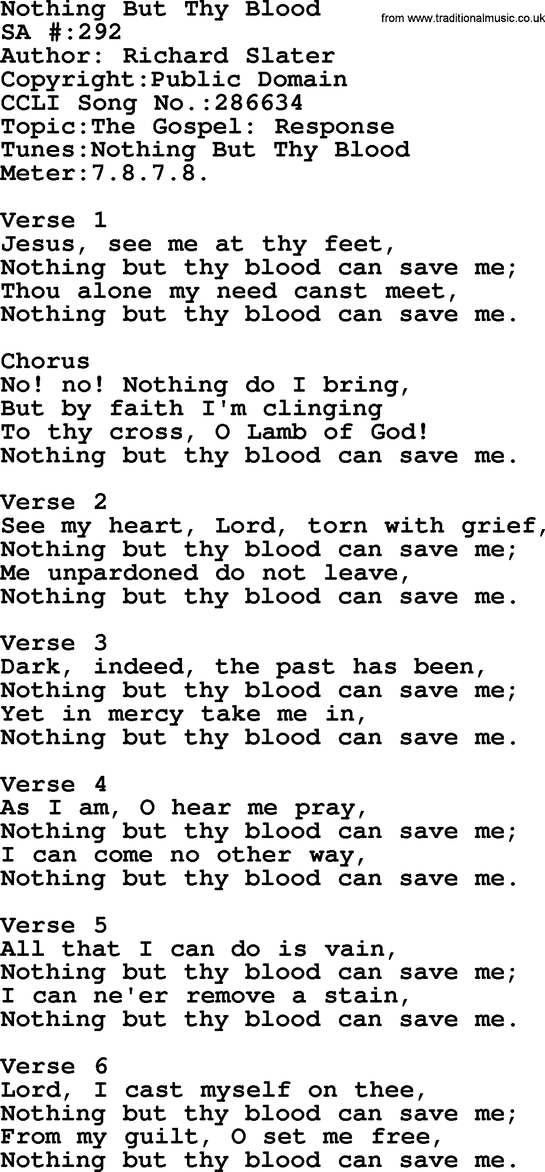 Salvation Army Hymnal Song: Nothing But Thy Blood, with