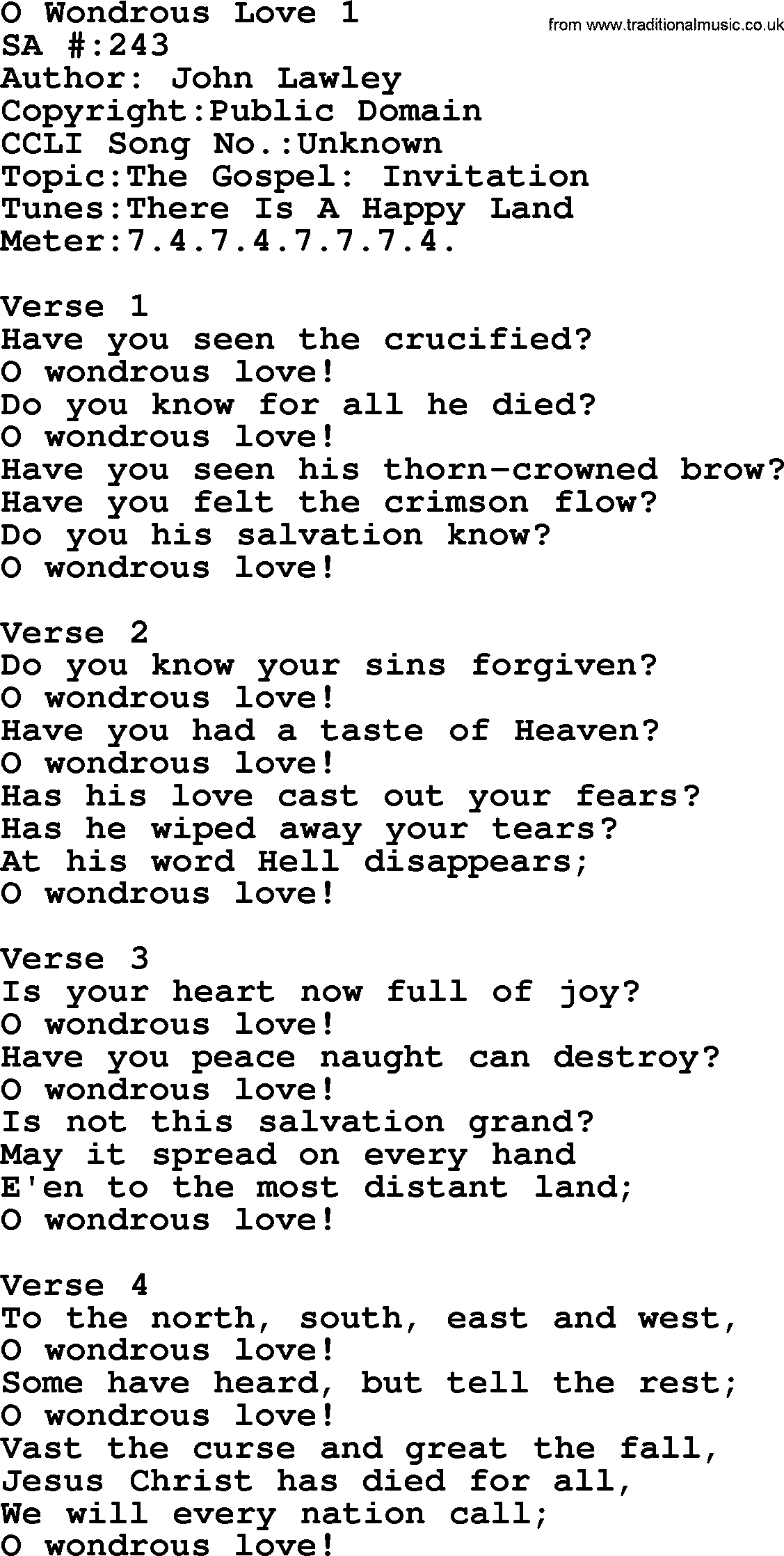 Salvation Army Hymnalle O Wondrous Love  With Lyrics And Pdf