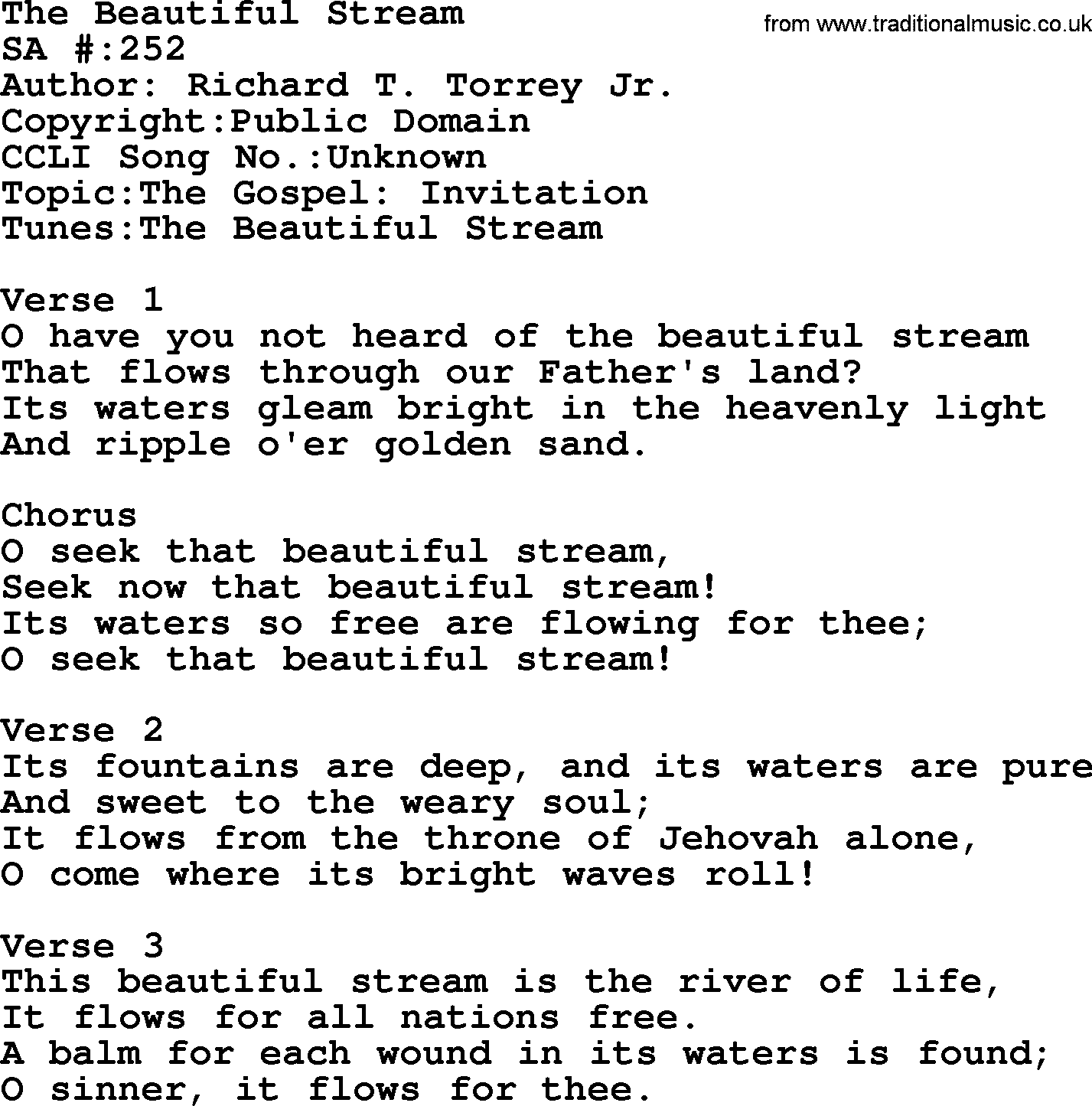 Salvation army hymnal song the beautiful stream with lyrics and pdf salvation army hymnal title the beautiful stream with lyrics and pdf stopboris Images