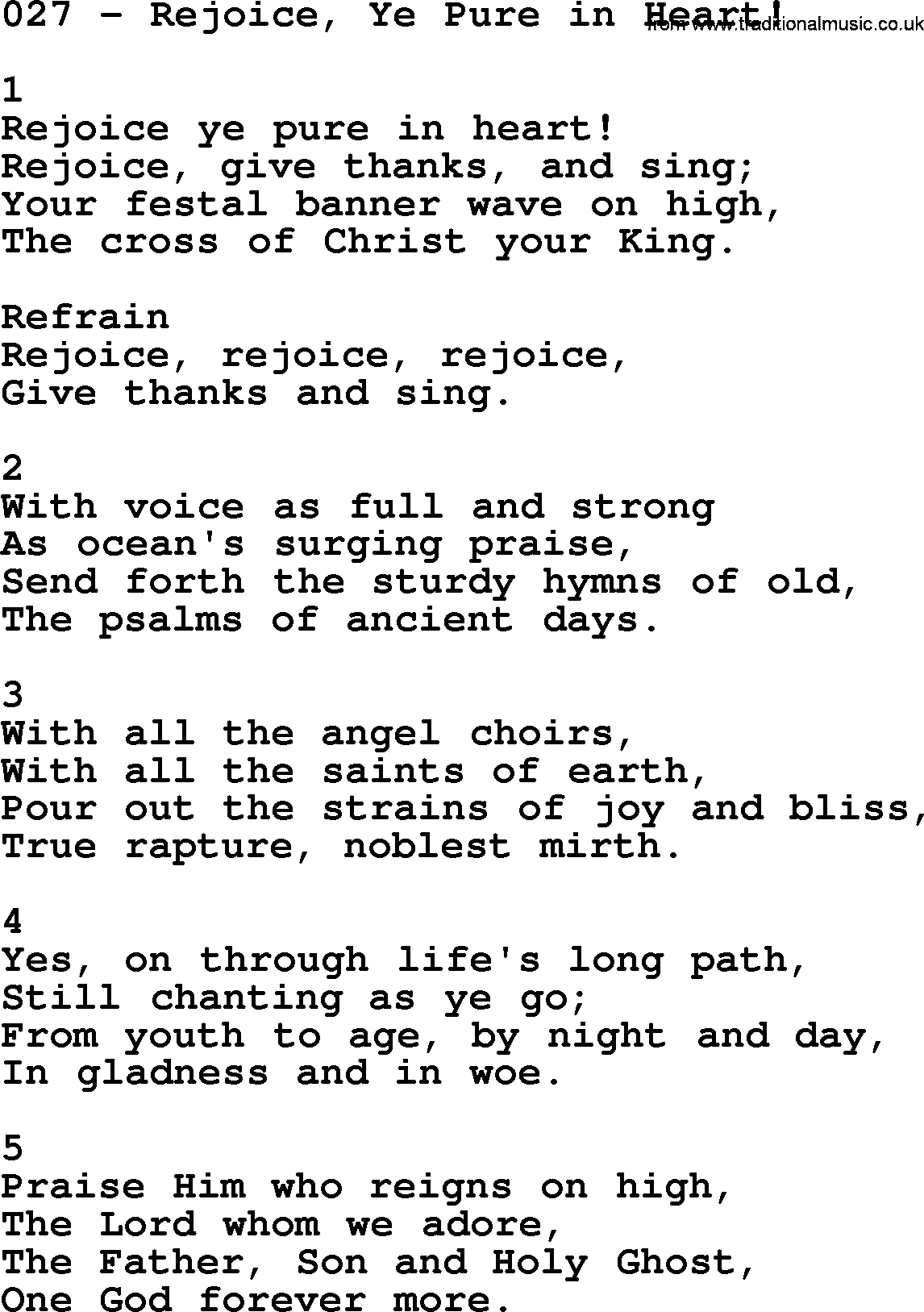 A Pure Heart Chords and Lyrics | Christian Lyrics
