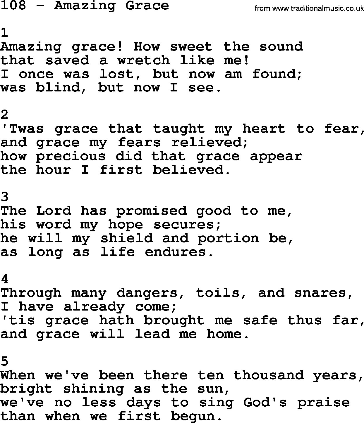 Amazing Grace: Adventist Hymnal, Song: 108-Amazing Grace, With Lyrics