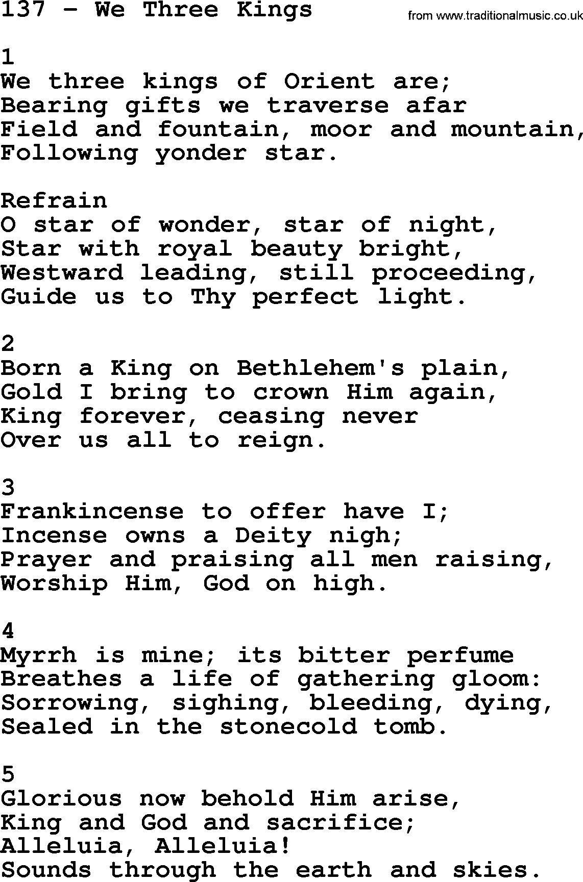 Adventist Hymnal, Song: 137-We Three Kings, with Lyrics, PPT, Midi, MP3 and PDF
