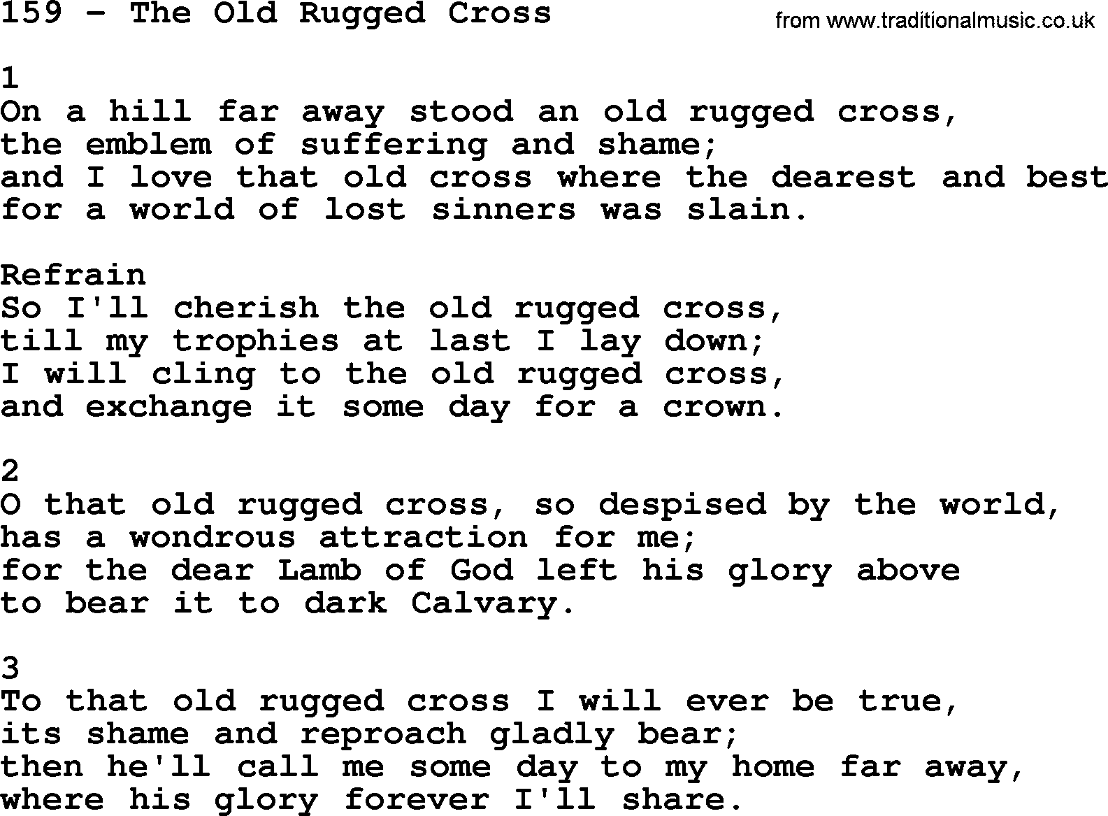 Complete Adventis Hymnal, Title: 159 The Old Rugged Cross, With Lyrics,