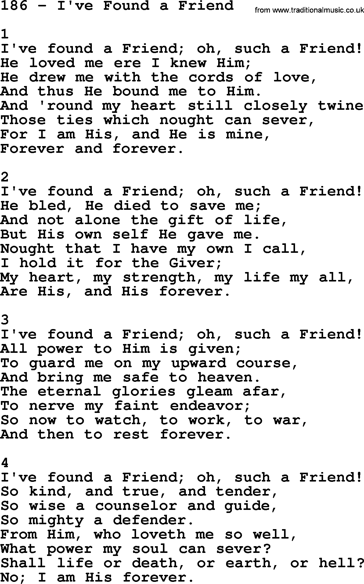 Adventist Hymnal, Song: 186-I've Found A Friend, with Lyrics, PPT ...