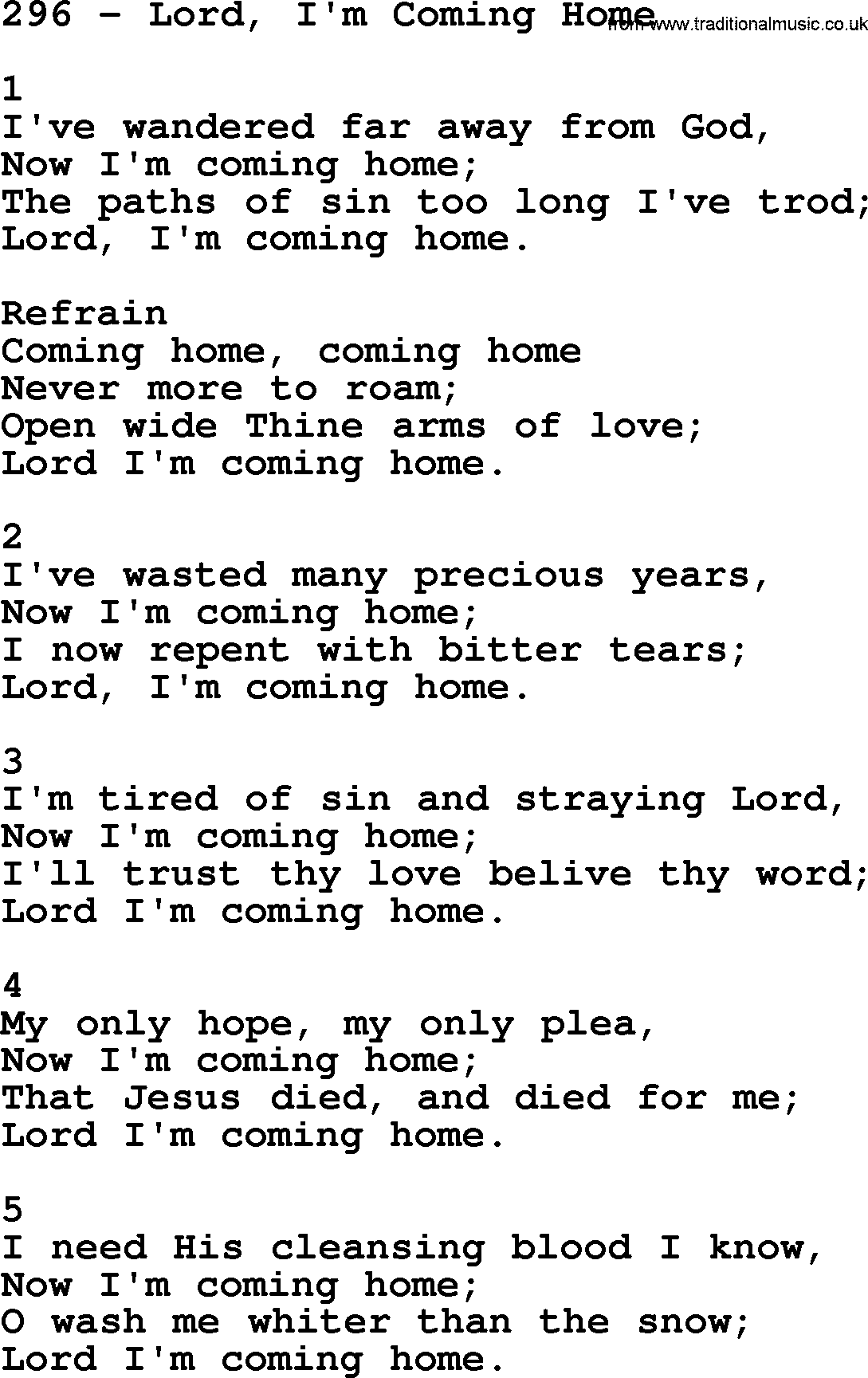 Adventist Hymnal, Song: 296-Lord, I'm Coming Home, with