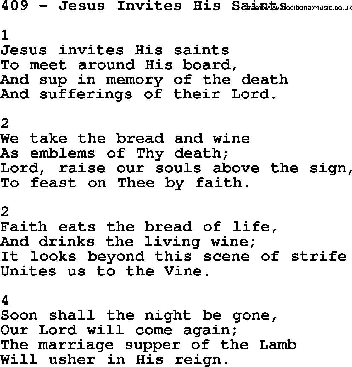 Adventist hymnal song 409 jesus invites his saints with lyrics complete adventis hymnal title 409 jesus invites his saints with lyrics stopboris Images