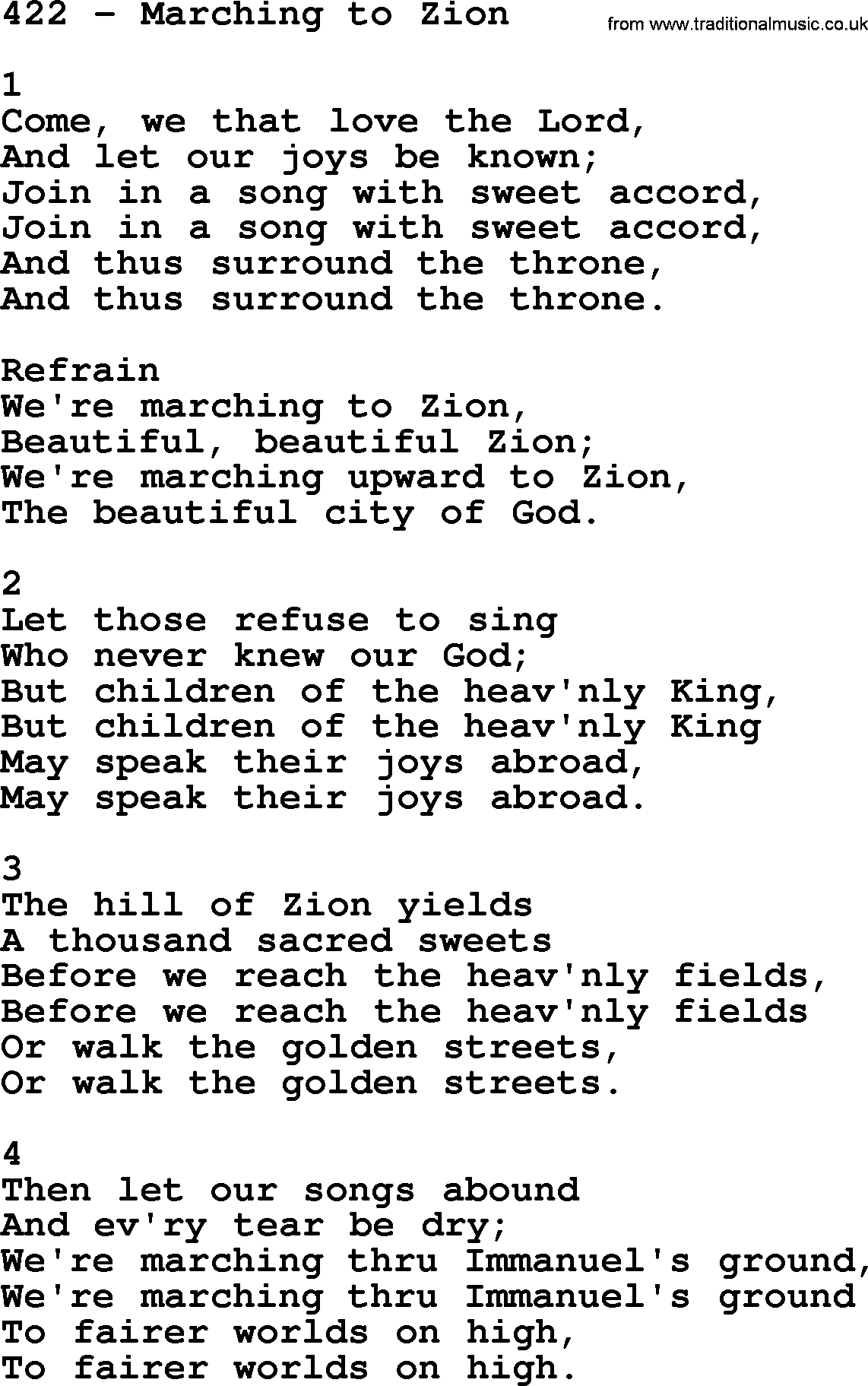 Adventist Hymnal, Song: 422-Marching To Zion, with Lyrics