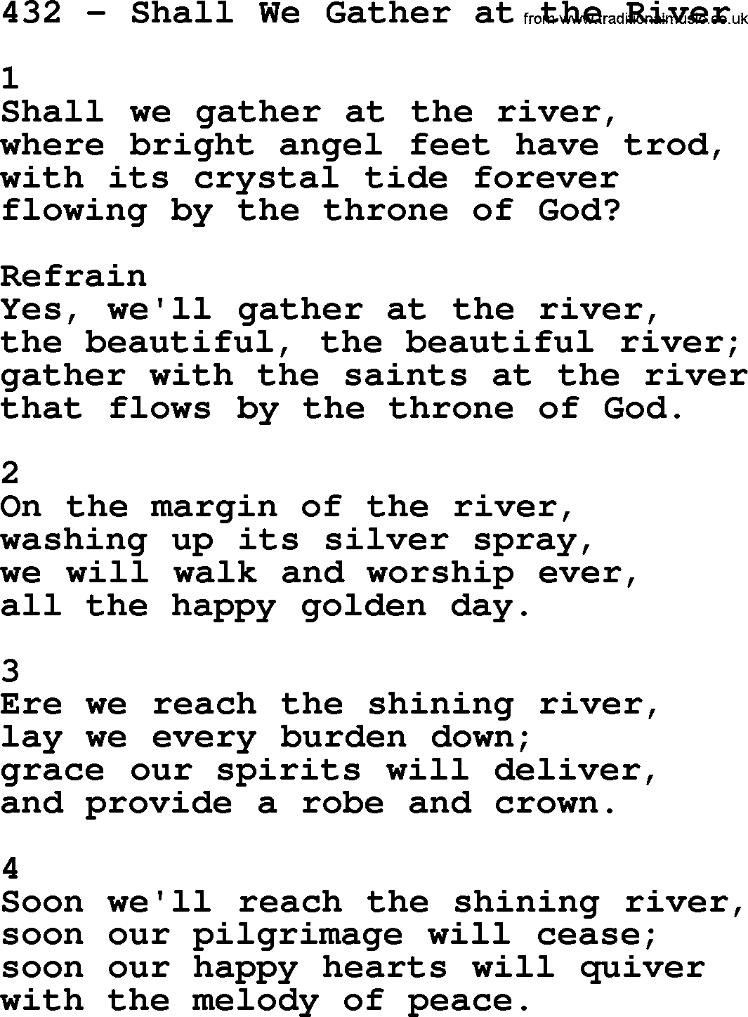 Adventist Hymnal, Song: 432-Shall We Gather At The River, with