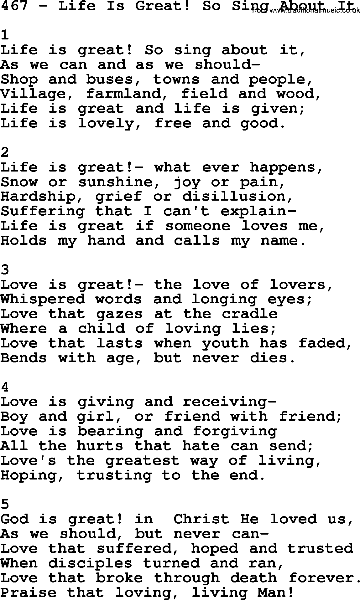 Adventist Hymnal, Song: 467-Life Is Great! So Sing About It