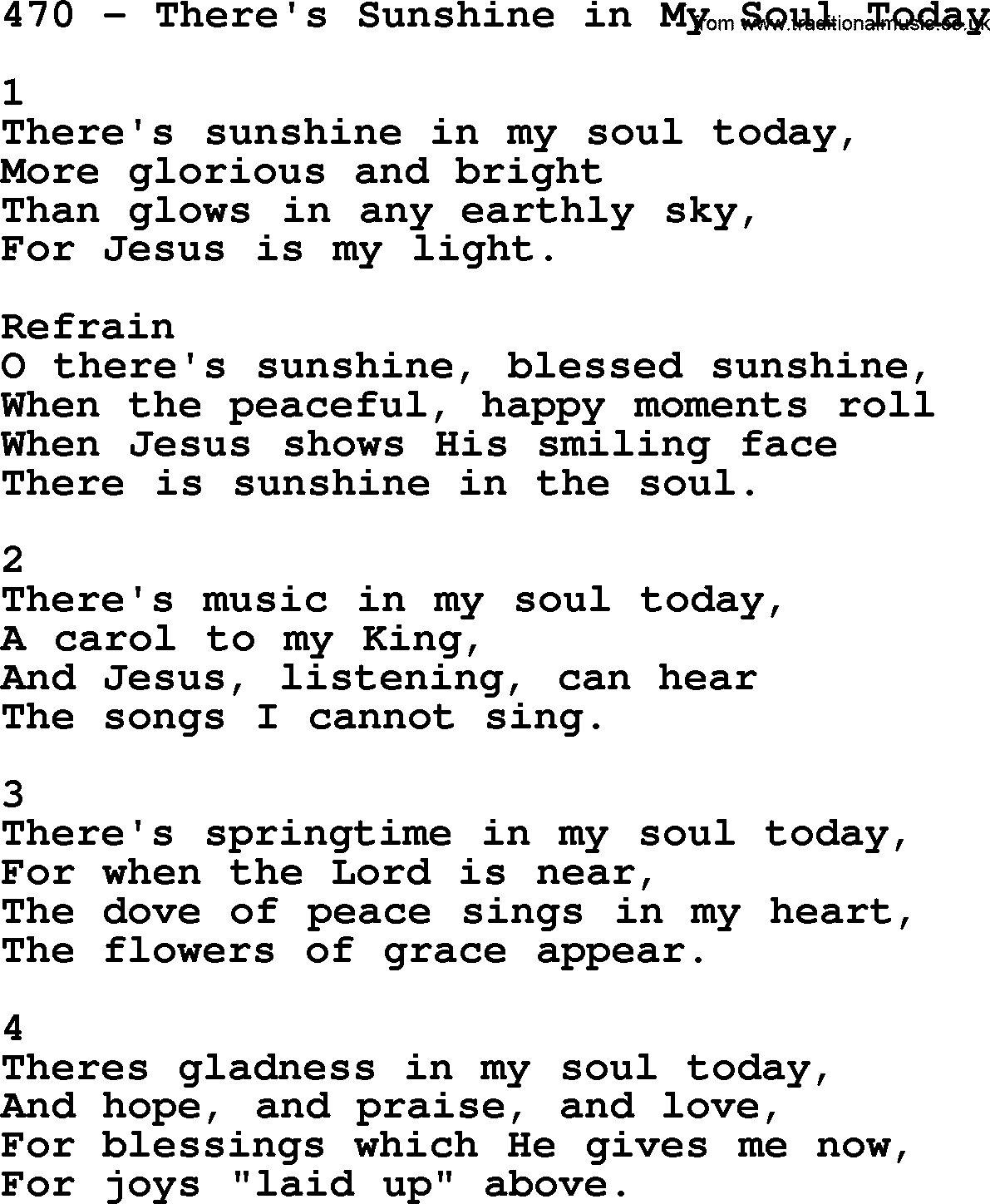 adventist hymnal song 470 there s sunshine in my soul today with