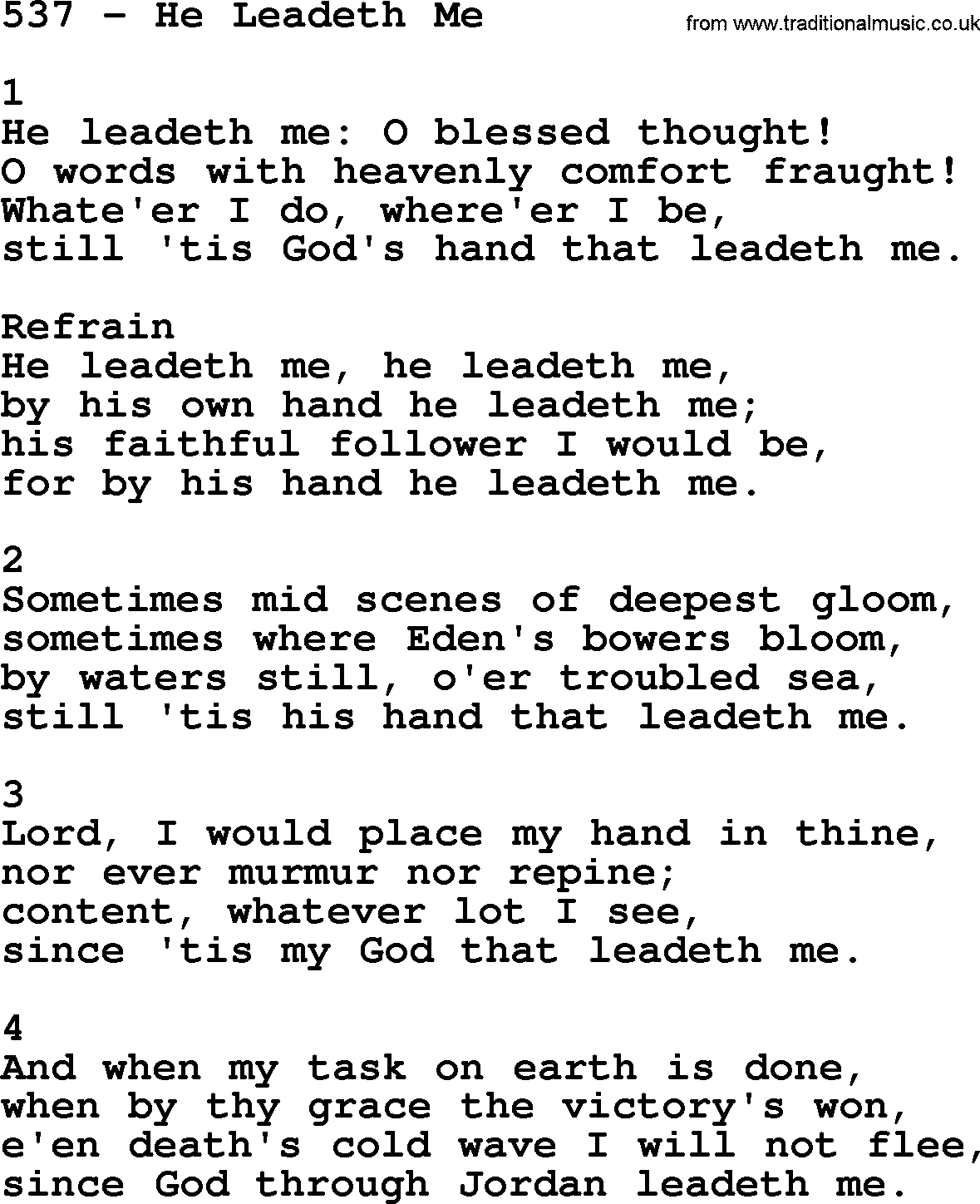Adventist Hymnal, Song: 537-He Leadeth Me, with Lyrics, PPT, Midi