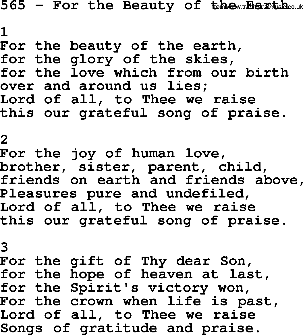 beauty of the earth Lyrics, guitar chords, sheet music, and resources for the hymn for the beauty of the earth by folliott s pierpoint.