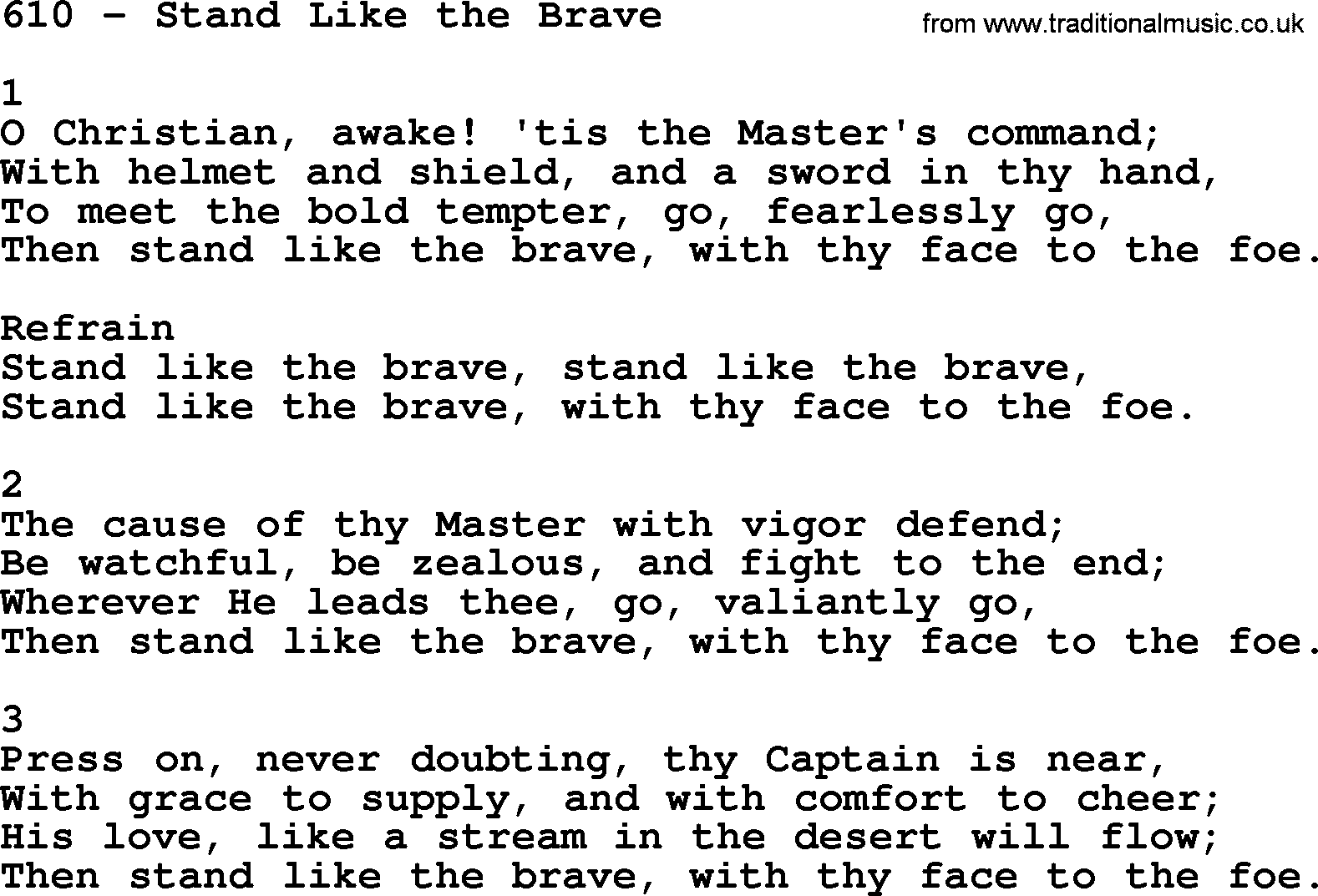 Adventist Hymnal, Song: 610-Stand Like The Brave, with Lyrics, PPT