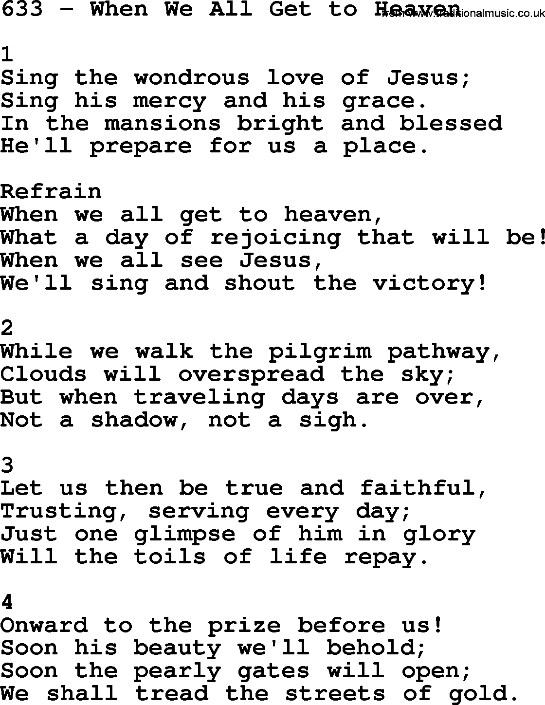 Adventist Hymnal Song 633 When We All Get To Heaven With Lyrics Ppt Midi Mp3 And Pdf
