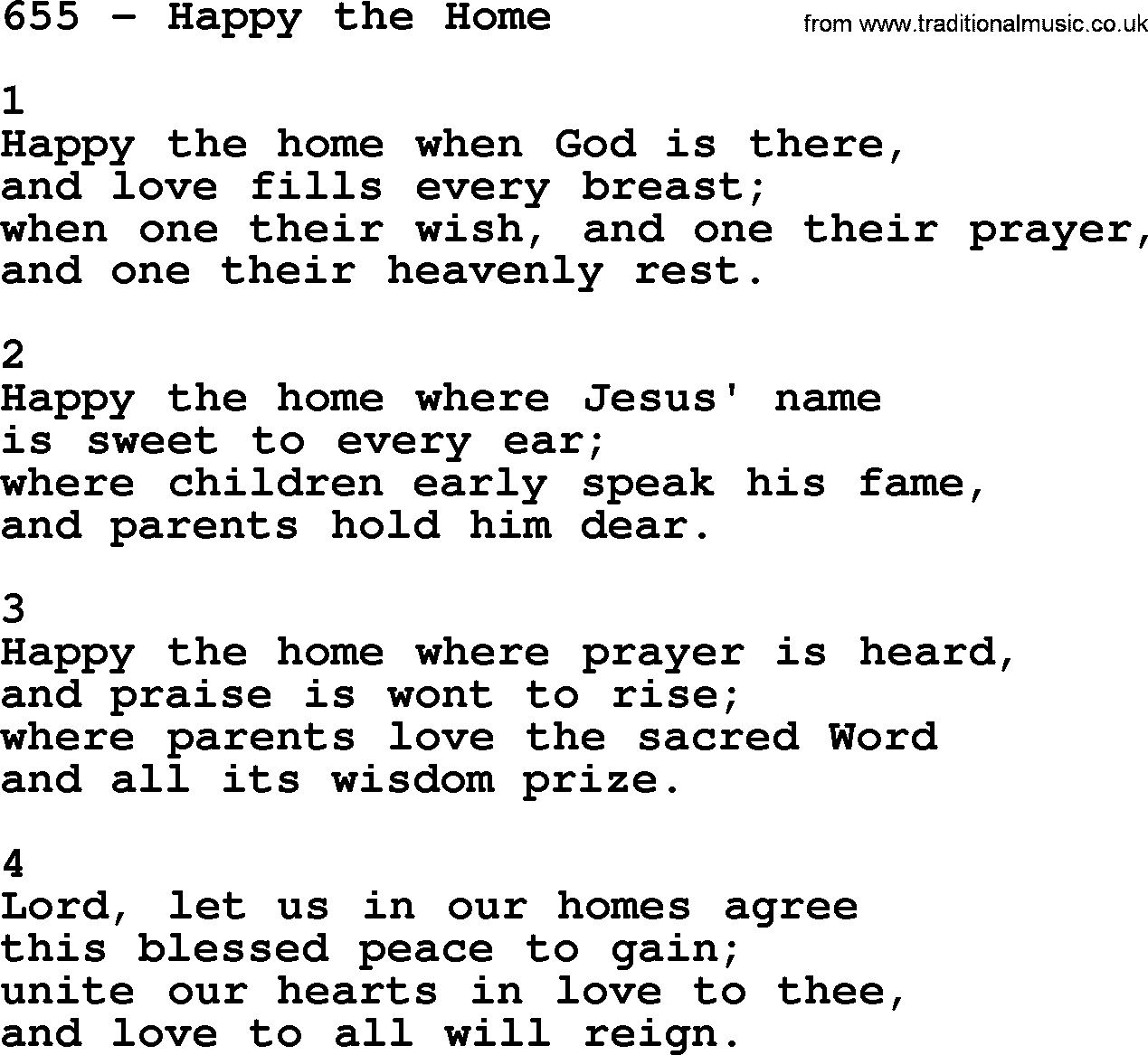 Adventist Hymnal, Song: 655-Happy The Home, with Lyrics, PPT