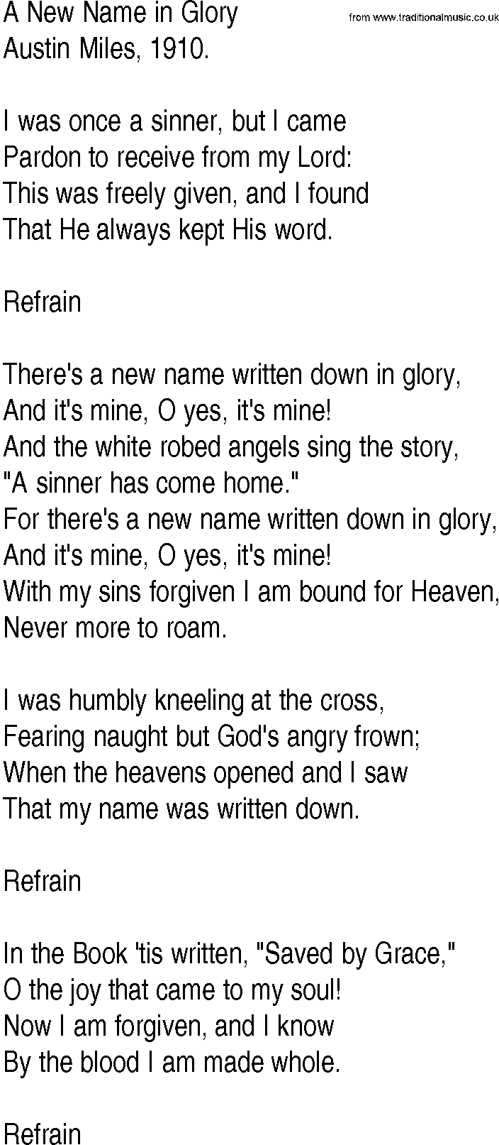 Hymn and Gospel Song Lyrics for A New Name in Glory by Austin Miles