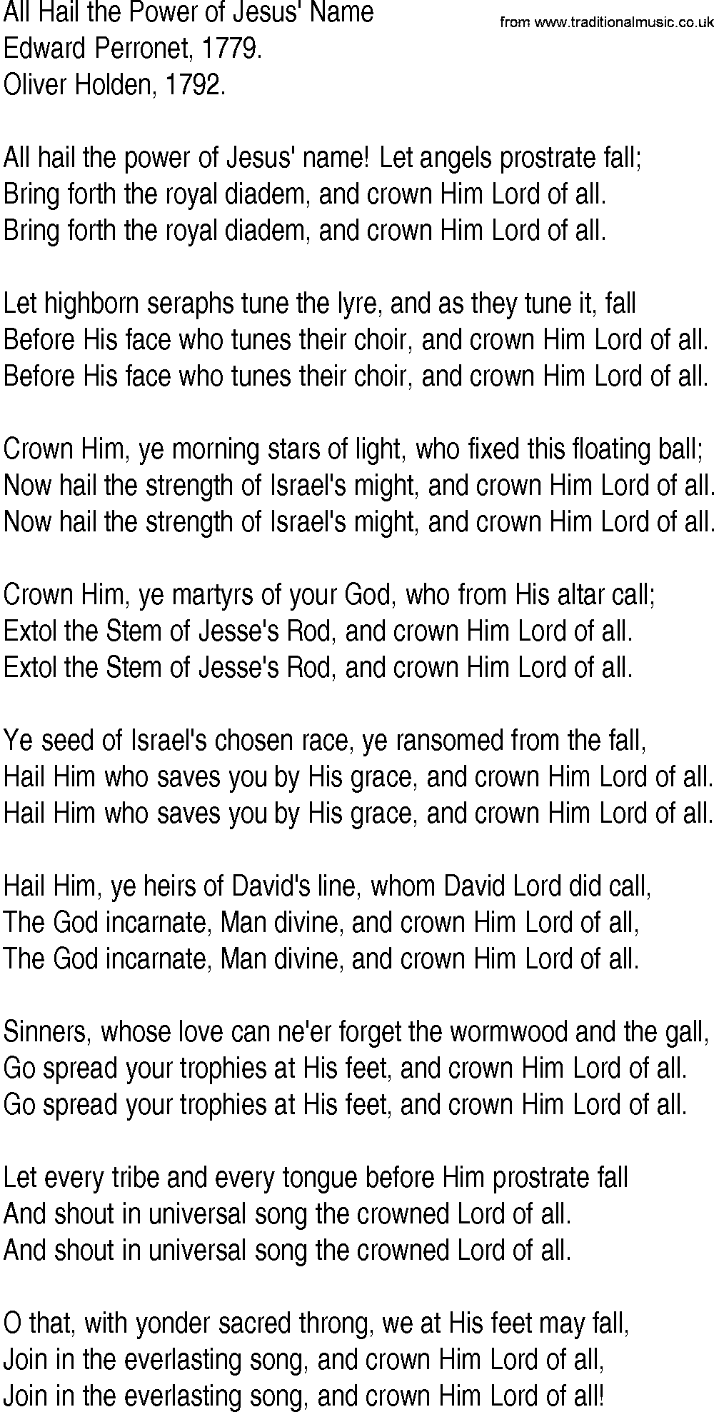 All Hail the Power of Jesus' Name - HymnSite.com - United ...