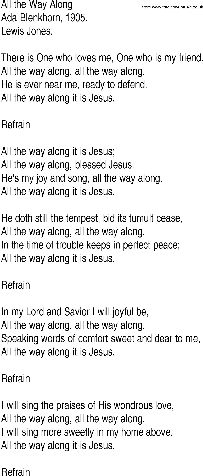 Hymn and gospel song lyrics for all the way along by ada for Bedroom hymns lyrics