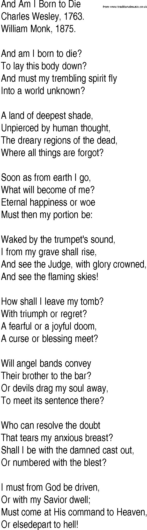 Hymn and Gospel Song Lyrics for And Am I Born to Die by ...
