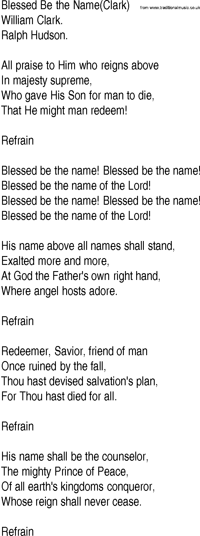 Blessed Be the Name - Hymn Lyrics