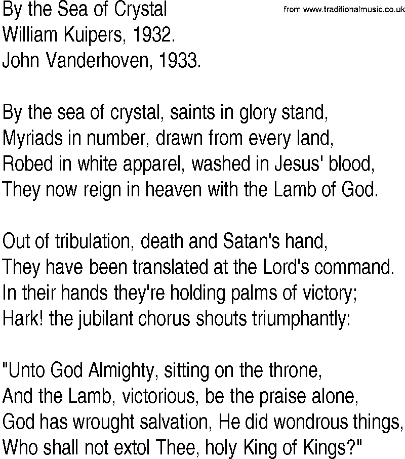 Lyric crystal mountain lyrics : Hymn and Gospel Song Lyrics for By the Sea of Crystal by William ...