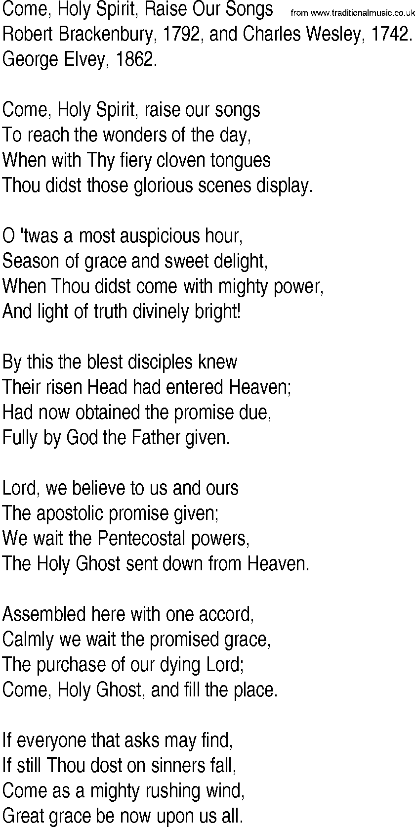 Holy spirit lyrics for Bedroom hymns lyrics