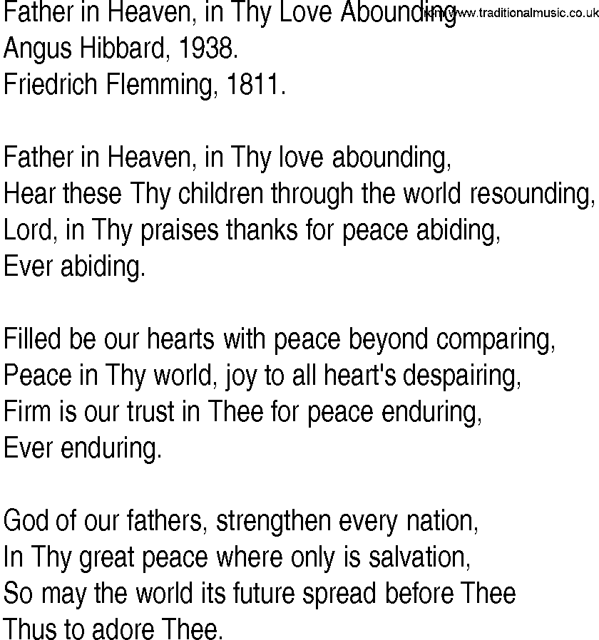 Lyric lyrics for : Hymn and Gospel Song Lyrics for Father in Heaven, in Thy Love ...