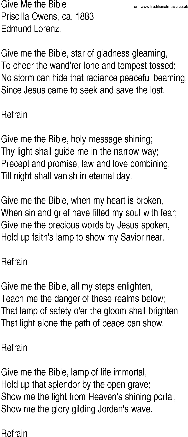 Hymn and Gospel Song Lyrics for Give Me the Bible by
