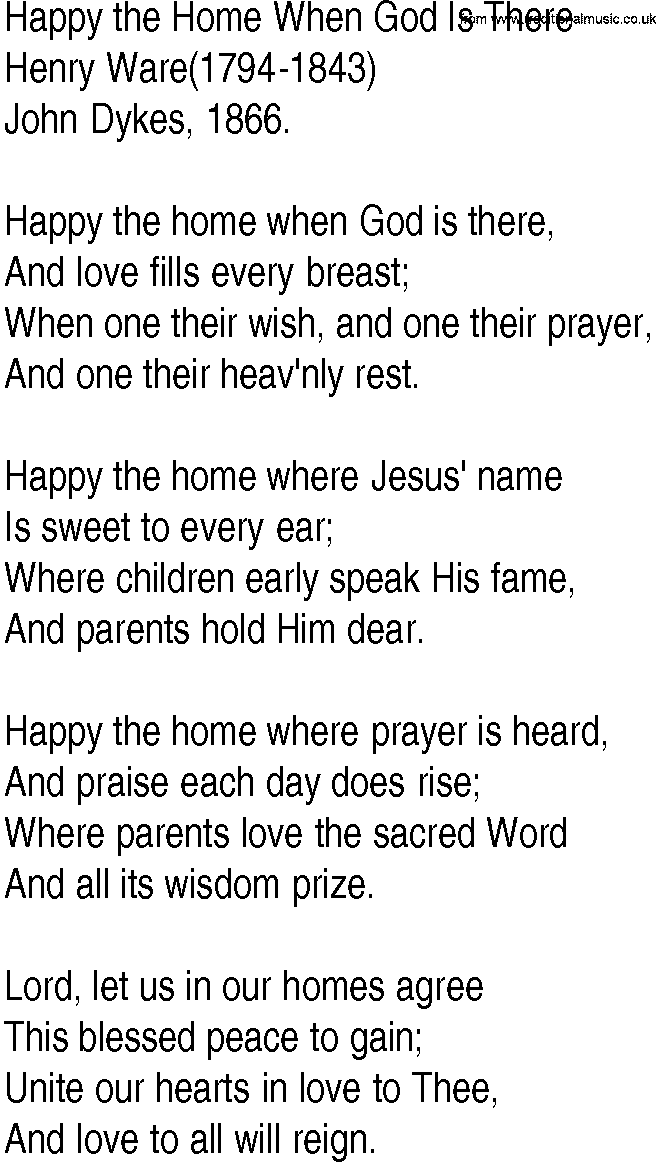 Hymn and Gospel Song Lyrics for Happy the Home When God Is There ...