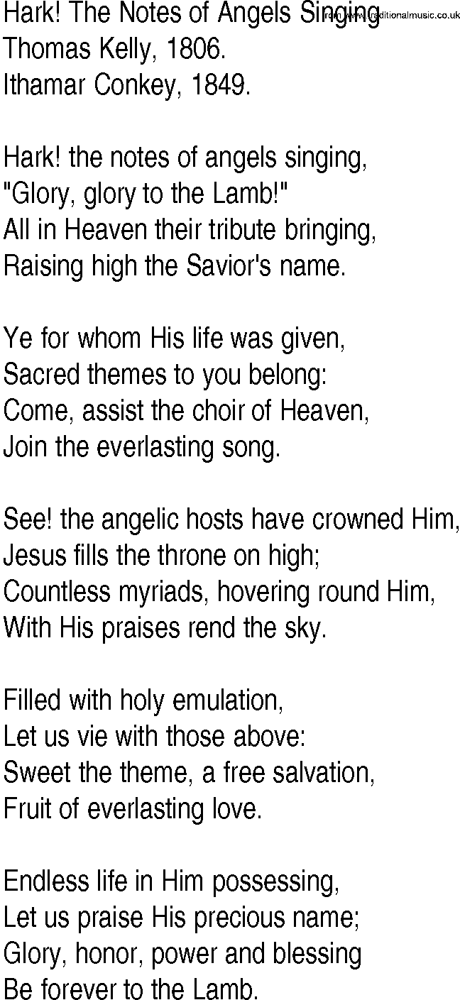 Hymn and Gospel Song Lyrics for Hark! The Notes of Angels