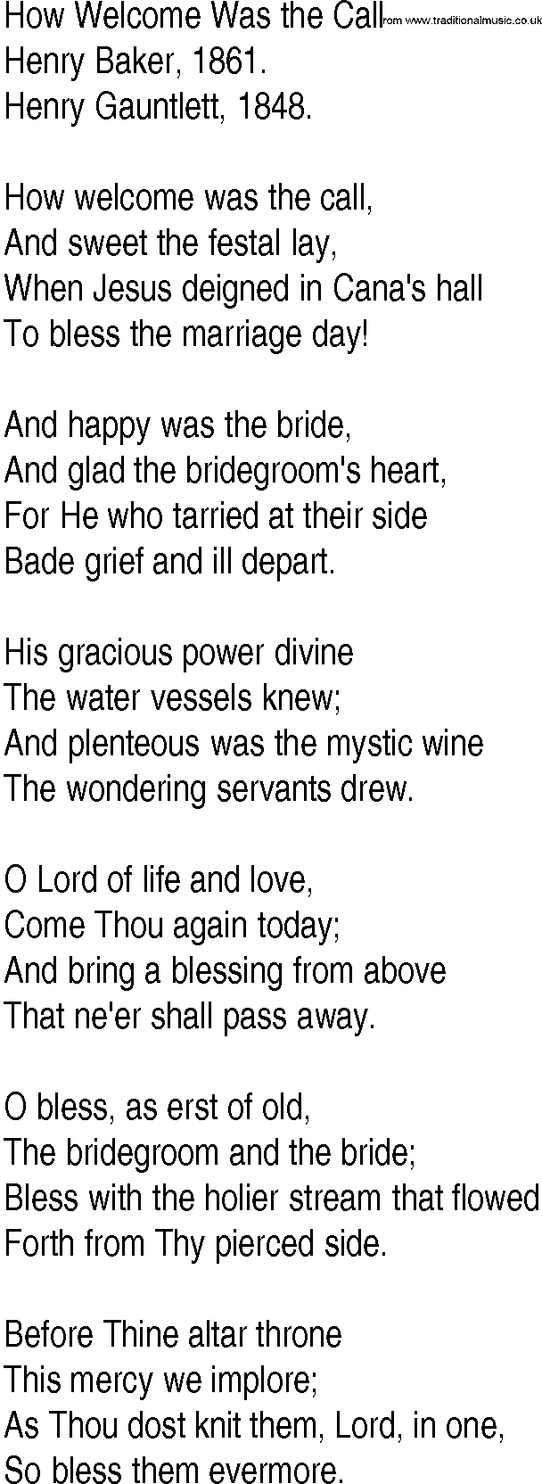 Hymn and Gospel Song Lyrics for How Welcome Was the Call by