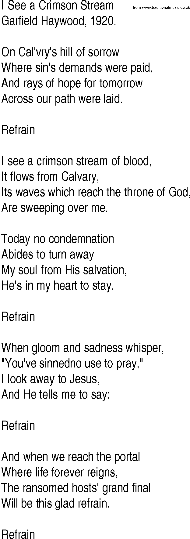 Hymn and gospel song lyrics for i see a crimson stream by garfield hymn and gospel song i see a crimson stream by garfield haywood lyrics hexwebz Image collections