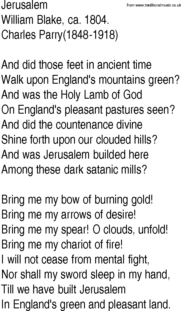 William Blake jerusalem song