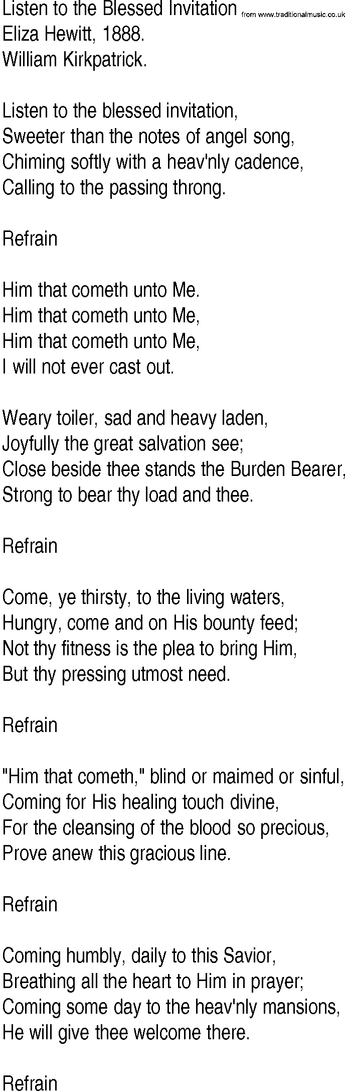 Hymn and gospel song lyrics for listen to the blessed invitation by hymn and gospel song listen to the blessed invitation by eliza hewitt lyrics stopboris Images