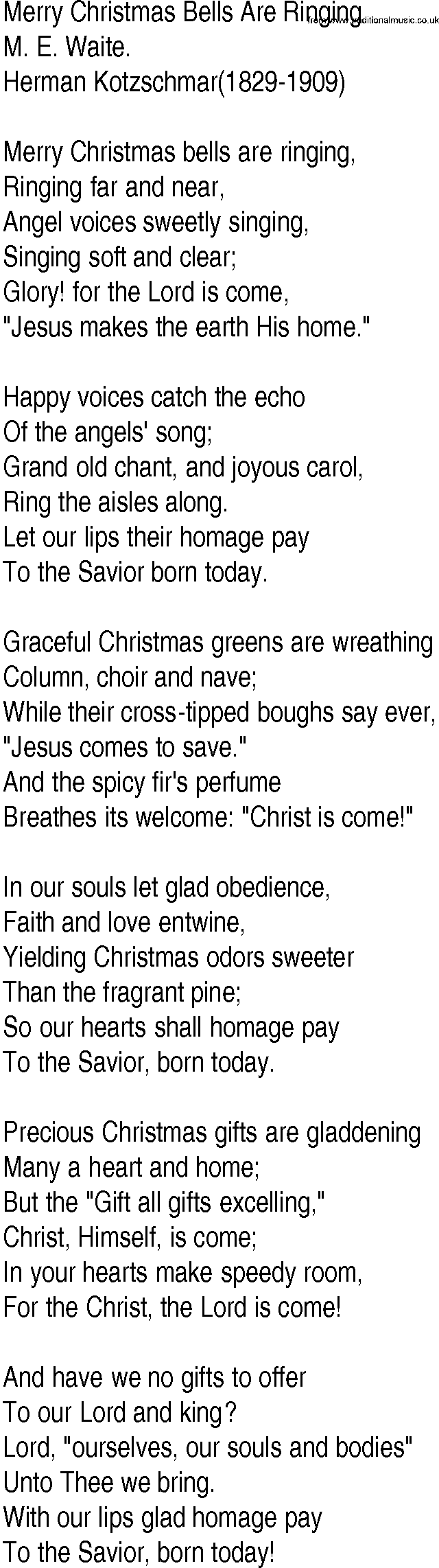 Hymn and Gospel Song Lyrics for Merry Christmas Bells Are Ringing ...