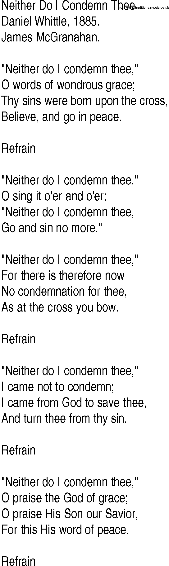 Neither do i condemn thee song