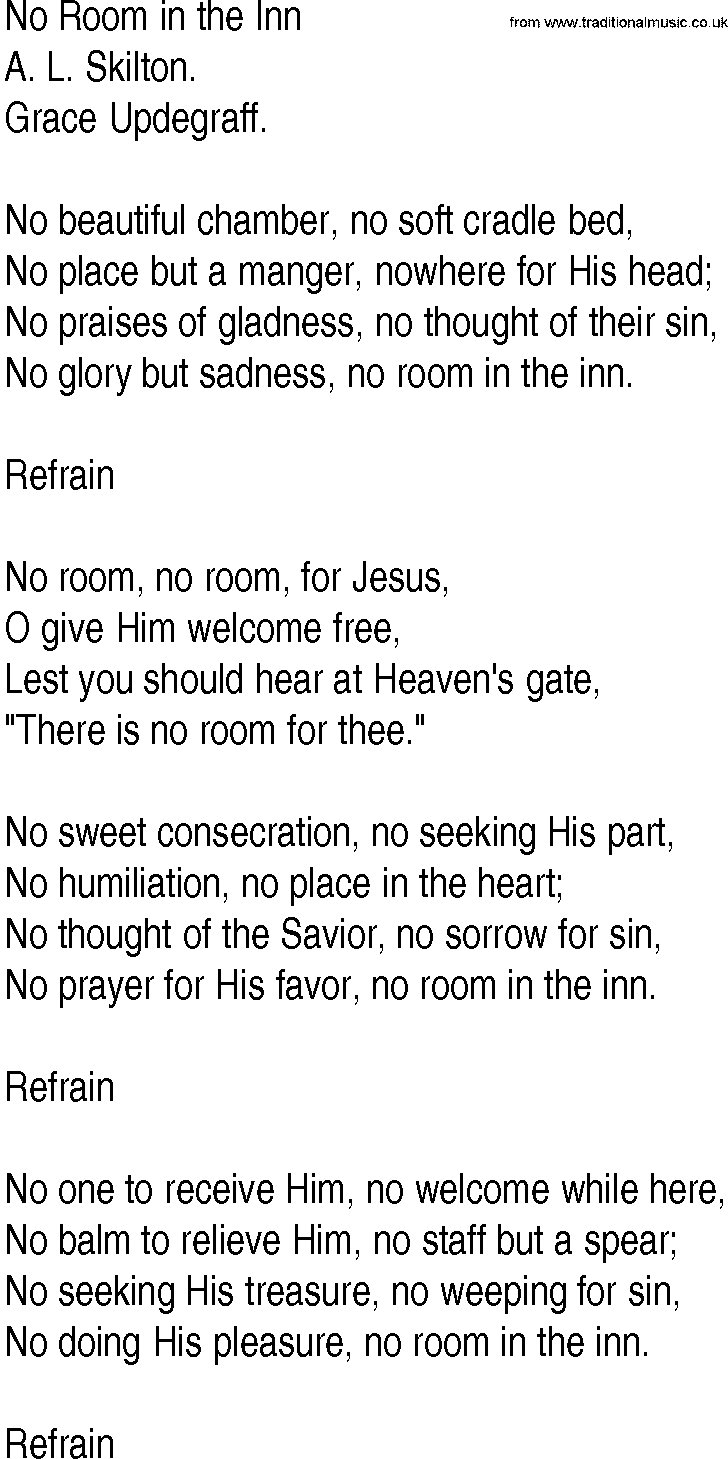 No Room, No Room (SATB Choir) - Words and Music by Ruth ...
