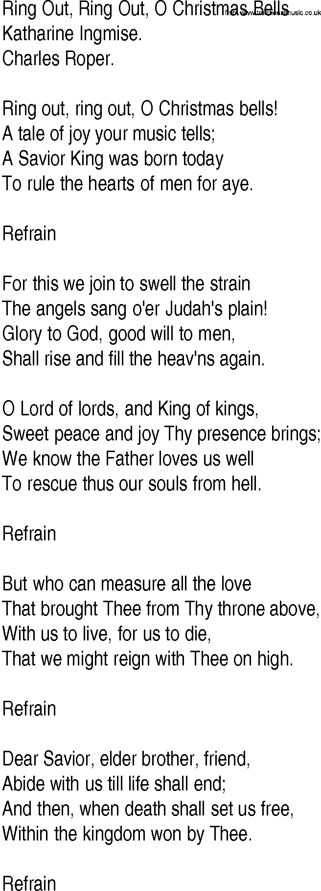 Hymn and Gospel Song Lyrics for Ring Out, Ring Out, O Christmas
