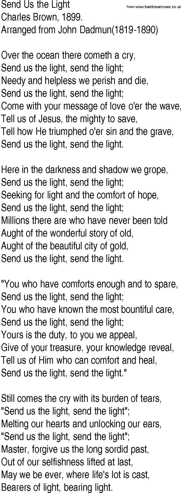 Hymn and Gospel Song Lyrics for Send Us the Light by Charles Brown
