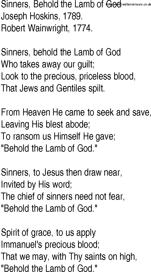 Hymn and Gospel Song Lyrics for Sinners, Behold the Lamb of God by ...