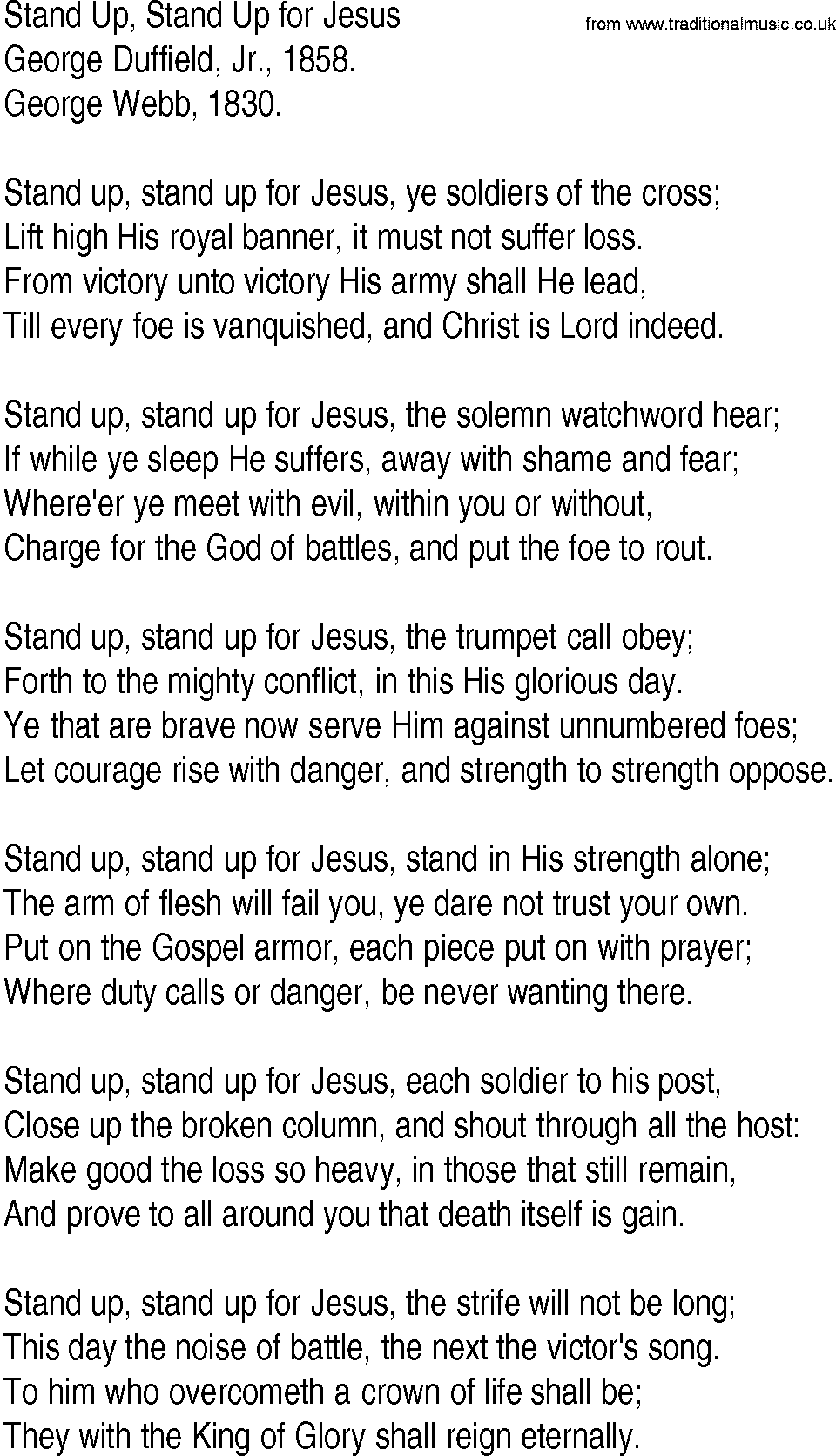 Hymn And Gospel Song Lyrics For Stand Up Stand Up For Jesus By George Duffield Jr
