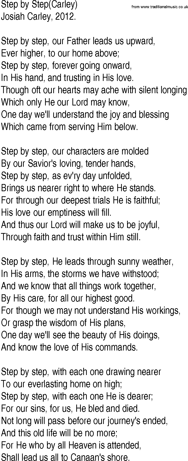 Hymn and Gospel Song Lyrics for Step by Step(Carley) by ...