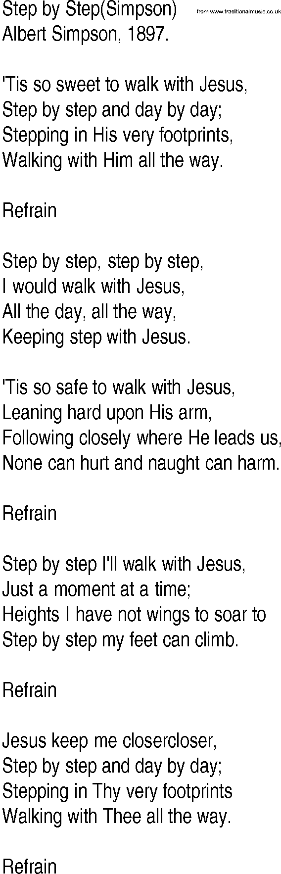 Hymn and Gospel Song Lyrics for Step by Step(Simpson) by ...
