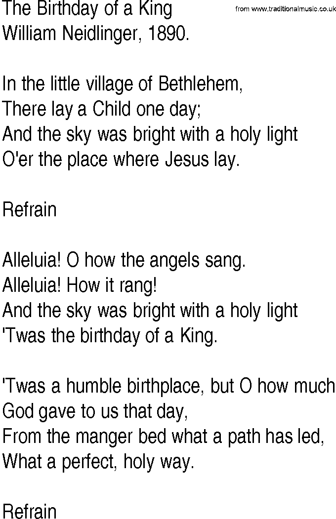 Hymn and Gospel Song Lyrics for The Birthday of a King by William ...