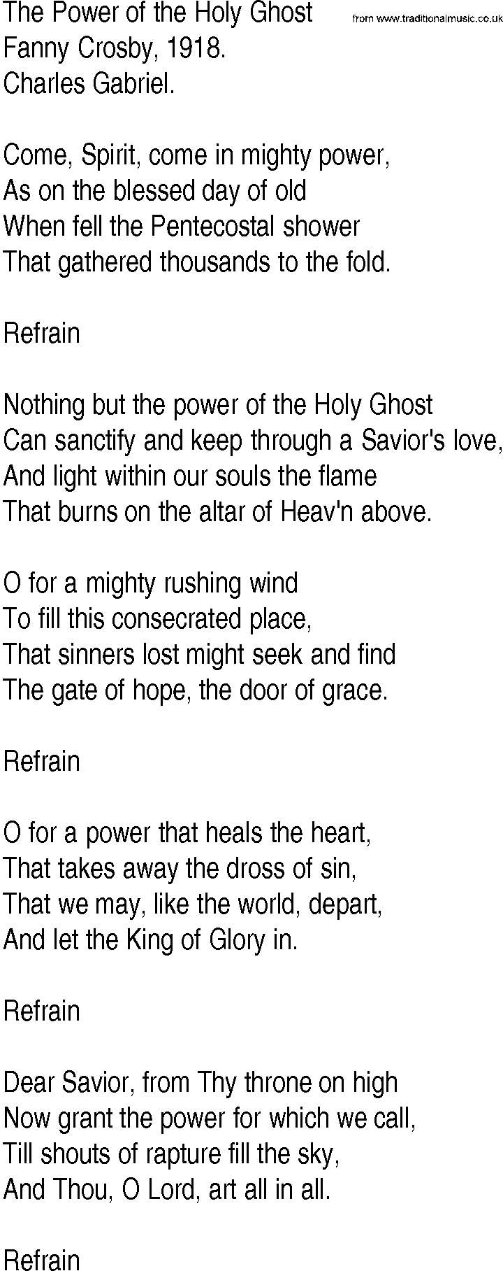 Hymn and Gospel Song Lyrics for The Power of the Holy Ghost by Fanny